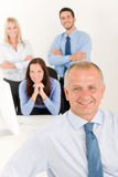 Business team senior manager with happy colleagues Royalty Free Stock Photos