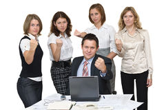 Business team shakes one`s fists Stock Images