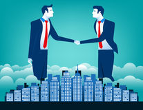 Business team shaking hands with city background. Concept business illustration. Vector  flat Royalty Free Stock Photography