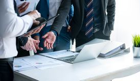 Business team shaking hand. S.finishing up a meeting stock photo