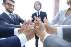 Business team showing thumbs up. Royalty Free Stock Photography