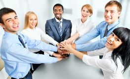 Business team showing unity with their hands. Together Stock Photography