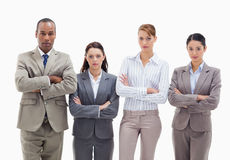 Business team side by side crossing their arms Stock Photography