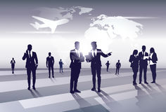Business Team Silhouette Businesspeople Group Human Resources over World Map Trip Flight Concept Stock Photo