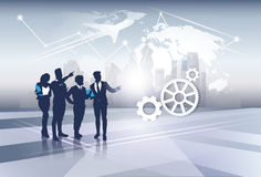 Business Team Silhouette Businesspeople Group Human Resources over World Map Trip Flight Concept Stock Image