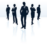Business team silhouettes vector posing bodyguard secret agent silhouette set businesswoman businessman people man meeting men Stock Images