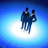 Business team silhouettes on binary background royalty free illustration
