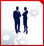 Business team silhouettes with gears Stock Photos
