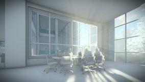 Business team silhouettes meeting, office building, 3d clay render stock video