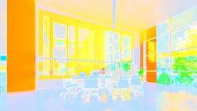 Business team silhouettes meeting, office building, tilt, 3d illustration stock footage