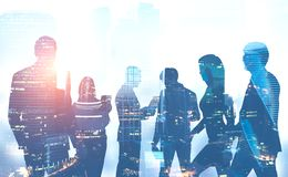 Business team silhouettes in Moscow city royalty free illustration