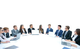Business team, sitting at athe round table on white background. Royalty Free Stock Photo