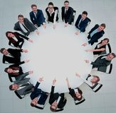 Business team, sitting at athe round table on white background. Royalty Free Stock Photos
