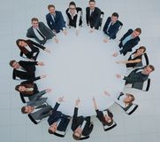 Business team, sitting at athe round table on white background. Royalty Free Stock Photography