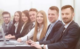Business team sitting at Desk in the conference room royalty free stock images
