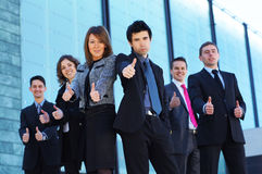 A business team of six persons in formal clothes Stock Images