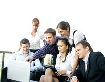 A business team of six persons in formal clothes Stock Image