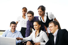 A business team of six young and energetic persons Royalty Free Stock Images