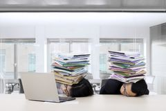 Business team sleep with documents Stock Image