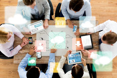 Business team with smartphones and tablet pc Stock Images