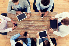 Business team with smartphones and tablet pc Stock Photos
