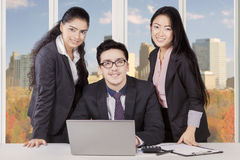 Business team smiling in autumn season Royalty Free Stock Images