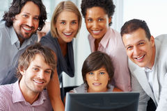 Business team smiling together Stock Photo