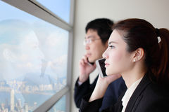 Business team speaking phone Stock Image