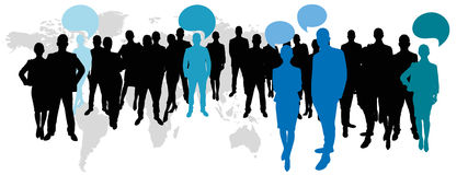Business team with speech bubbles Stock Photo