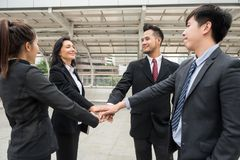 business team stack hands for teamwork Royalty Free Stock Photo