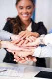 Business team stacking hands royalty free stock photo