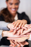 Business team stacking hands Royalty Free Stock Photos