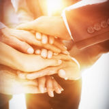 Business team stacking hands together Stock Images