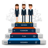 Business team with stair step to success. Staircase to success. Royalty Free Stock Photo