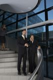 Business Team on the stairs. Three business people standing on stairs Royalty Free Stock Photo