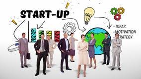 Business team standing against brainstorm