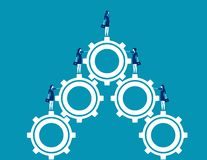 Business team standing on gears. Concept business vector illustration. Character flat design vector illustration