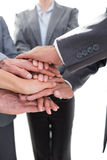Business team standing hands together Stock Images