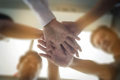 Business team standing hands together people joining for cooperation success business. Teamwork concept Royalty Free Stock Photo