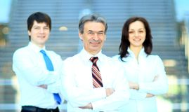Business team standing upright Stock Image