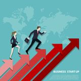 Business team steps up stairs to successful point royalty free illustration