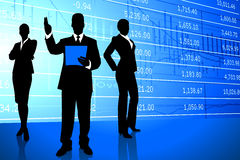Business Team on Stock Market Background Stock Photo