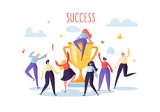 Business Team Success, Achievement Concept. Flat People Characters with Prize, Golden Cup. Office Workers Big Trophy royalty free illustration