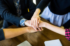 Business team support join hands concept. Team building and team work. Royalty Free Stock Images