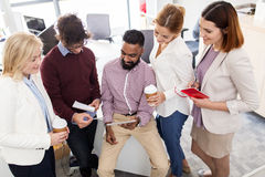 Business team with tablet pc and coffee at office Royalty Free Stock Photo