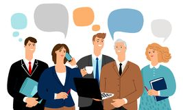 Business team talk. Office people talks, young professionals group communication bubbles, businessworkers persons talking and thinking, vector illustration vector illustration