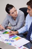 Business team talking about statistics Royalty Free Stock Image