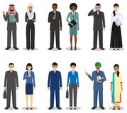 Business team and teamwork concept. Set of detailed illustration of businessmen standing in different positions in flat Royalty Free Stock Photography