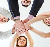 Business team with their hands Stock Photo