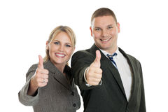 Business team with thumbs up Stock Photo
